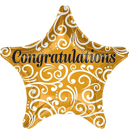 Gold Congratulations Star Balloon, 19in Image #1