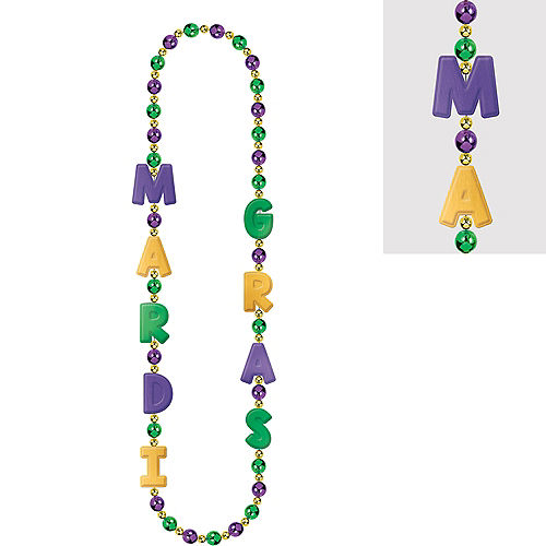 Mardi Gras Letter Bead Necklace Image #1