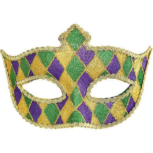 Glitter Harlequin Mardi Gras Masquerade Mask Image #1