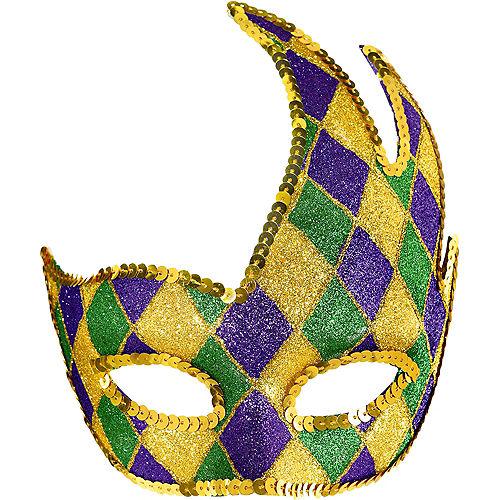 Glitter Harlequin Mardi Gras Party Masquerade Mask Image #1