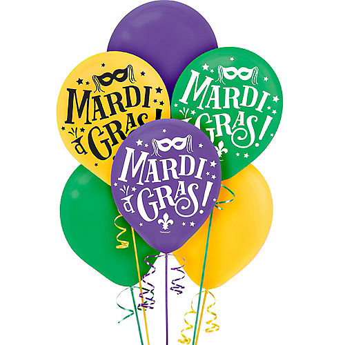 Good Times Mardi Gras Balloons 72ct Image #1