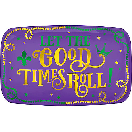 Metallic Good Times Mardi Gras Plastic Rectangular Platter Image #1