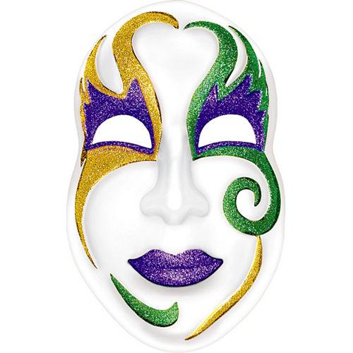 Glitter White Mardi Gras Mask Image #1