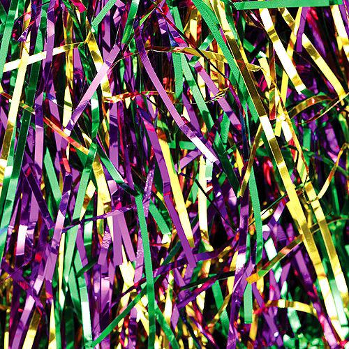 Gold, Green & Purple Tinsel Strips Image #1