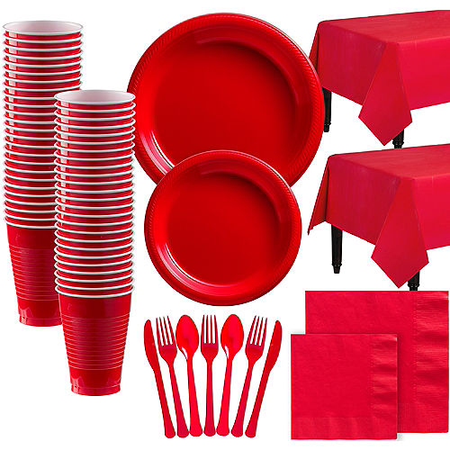 Red Plastic Tableware Kit for 100 Guests Image #1