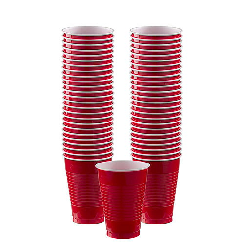 Red Plastic Tableware Kit for 100 Guests Image #6
