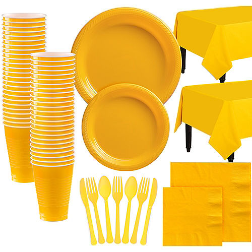 Sunshine Yellow Plastic Tableware Kit for 100 Guests Image #1