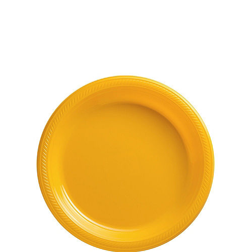 Sunshine Yellow Plastic Tableware Kit for 100 Guests Image #2