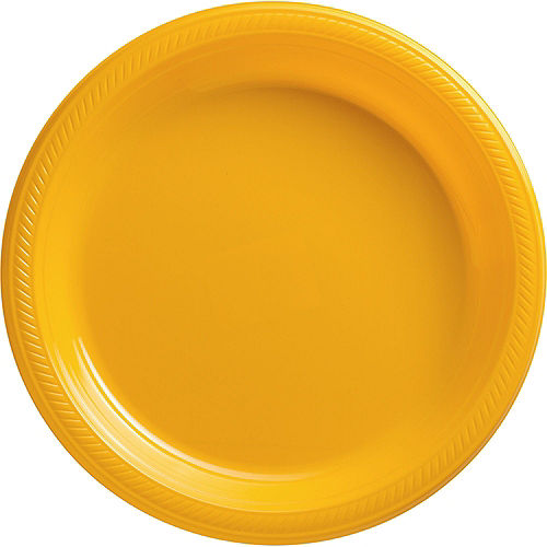 Sunshine Yellow Plastic Tableware Kit for 100 Guests Image #3