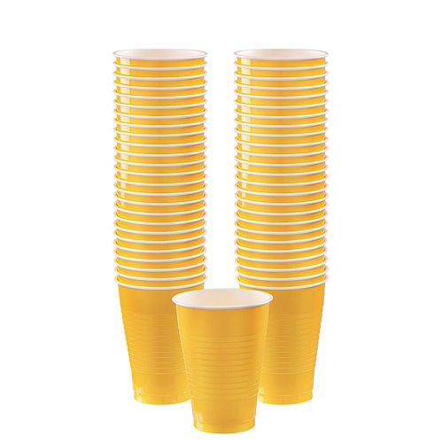 Sunshine Yellow Plastic Tableware Kit for 100 Guests Image #6