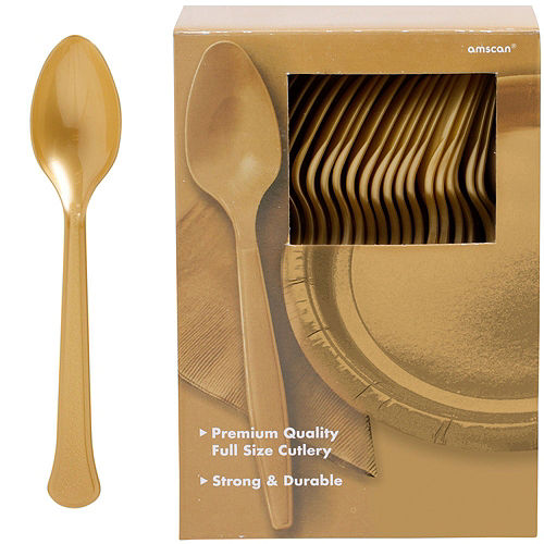 Gold Plastic Tableware Kit for 100 Guests Image #10