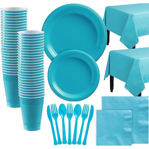 Caribbean Blue Plastic Tableware Kit for 100 Guests Image #1