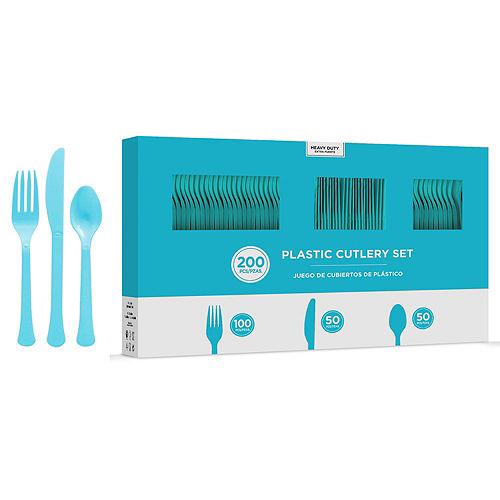 Caribbean Blue Plastic Tableware Kit for 100 Guests Image #8