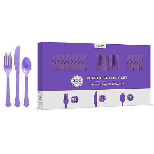 Purple Plastic Tableware Kit for 100 Guests Image #8