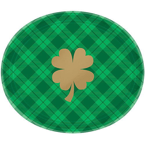 St. Patrick's Day Plaid Oval Plates 18ct Image #1