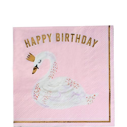 Swan Happy Birthday Lunch Napkins 16ct Image #1