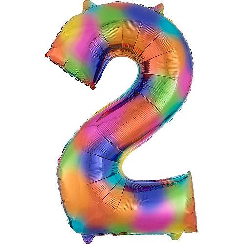 34in Rainbow Splash Number Balloon (2) Image #1