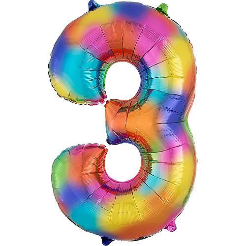 34in Rainbow Splash Number Balloon (3) Image #1