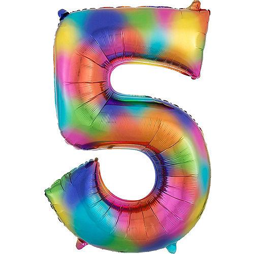 34in Rainbow Splash Number Balloon (5) Image #1