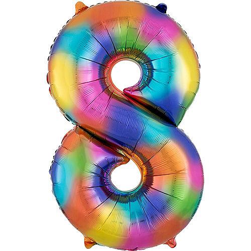 34in Rainbow Splash Number Balloon (8) Image #1