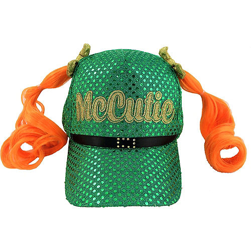 McCutie Sequin St. Patrick's Day Baseball Hat with Pigtails Image #1