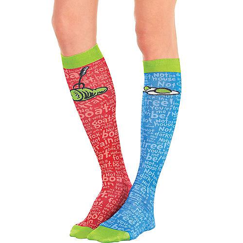 Adult Mismatched Green Eggs & Ham Knee Socks – Dr. Seuss Image #1