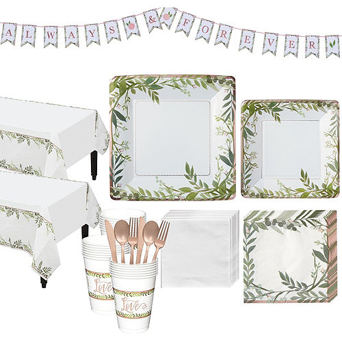 Metallic Floral Greenery Wedding Party Kit for 32 Guests Image #1