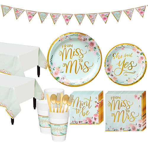Mint to Be Floral Bridal Shower Party Kit for 32 Guests Image #1