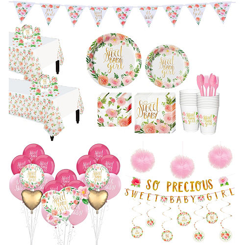 Ultimate Boho Girl Baby Shower Kit for 32 Guests Image #1