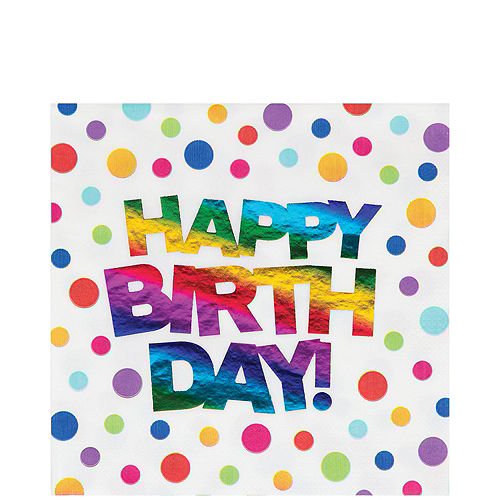 Metallic Rainbow Dot Happy Birthday Lunch Napkins 16ct Image #1