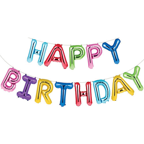 Air-Filled Multicolored Happy Birthday Balloon Banner Image #1