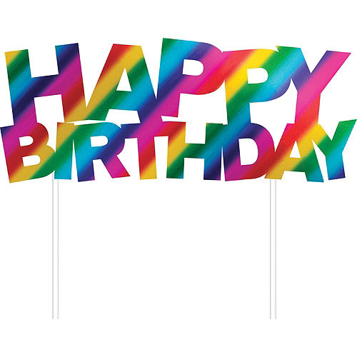 Metallic Rainbow Happy Birthday Cake Topper Image #1