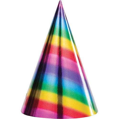 Metallic Rainbow Party Hats 8ct Image #1