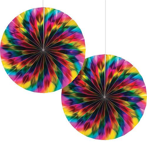 Metallic Rainbow Paper Fan Decorations 2ct Image #1