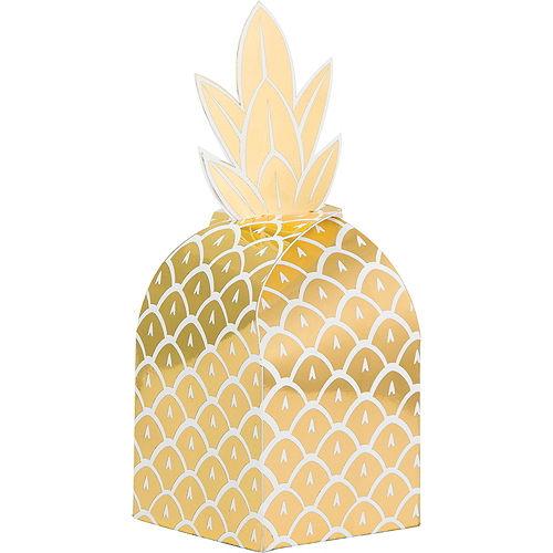 Metallic Gold Pineapple Favor Boxes 8ct Image #1