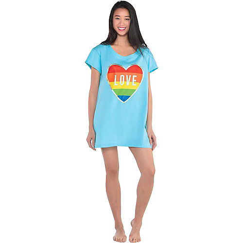 Adult Rainbow Heart Love Sleep Shirt Image #2