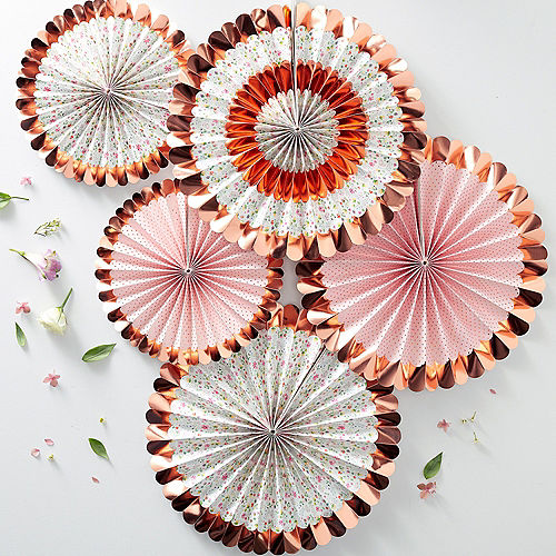 Ginger Ray Metallic Rose Gold and Patterned Paper Fan Decorations 5ct Image #1