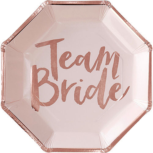Ginger Ray Metallic Rose Gold Team Bride Lunch Plates 8ct Image #2