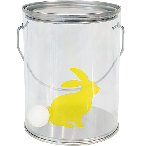 Yellow Cotton Tail Bunny Plastic Favor Paint Can Image #1
