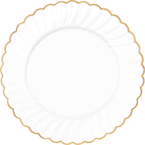 White & Gold Scalloped Premium Tableware Kit for 40 Guests Image #3