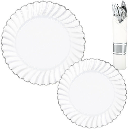 White & Silver Scalloped Premium Tableware Kit for 40 Guests Image #1