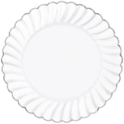 White & Silver Scalloped Premium Tableware Kit for 40 Guests Image #3