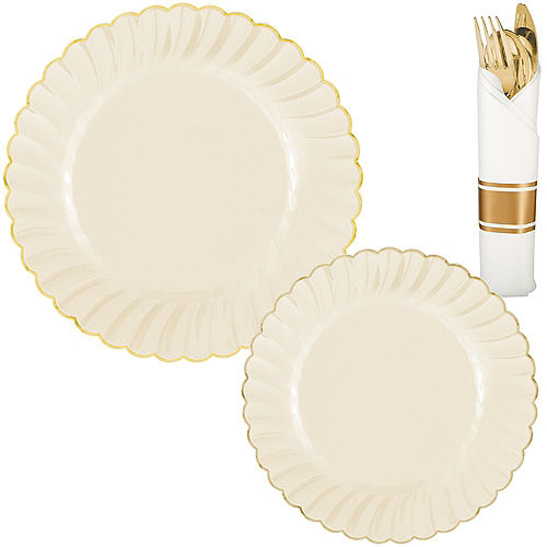 Cream & Gold Scalloped Premium Tableware Kit for 40 Guests Image #1