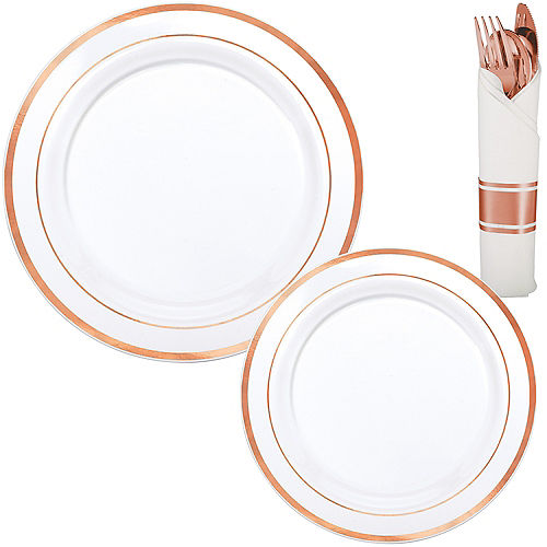 White Rose Gold-Trimmed Premium Tableware Kit for 40 Guests Image #1