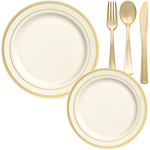 Cream Gold-Trimmed Premium Tableware Kit for 60 Guests Image #1
