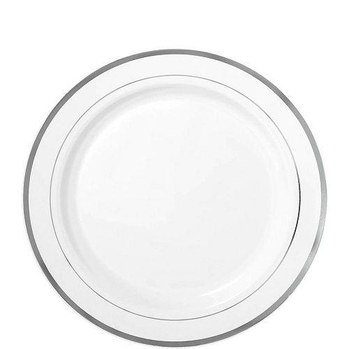 White Silver-Trimmed Premium Tableware Kit for 60 Guests Image #2