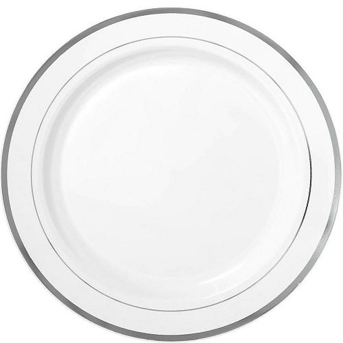 White Silver-Trimmed Premium Tableware Kit for 60 Guests Image #3