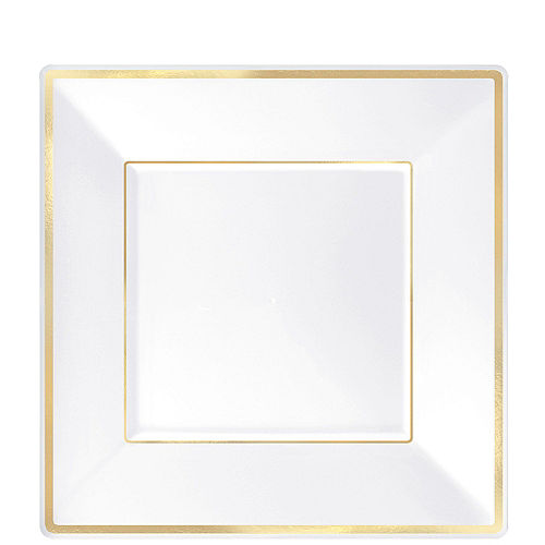 White & Gold Square Premium Tableware Kit for 32 Guests Image #2