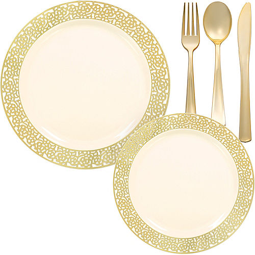 Cream Gold Lace Premium Tableware Kit for 60 Guests Image #1