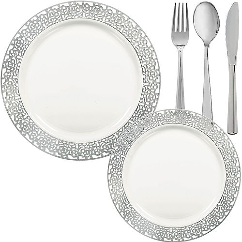 White Silver Lace Premium Tableware Kit for 60 Guests Image #1